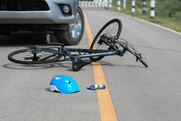 Accident car crash with bicycle on road stock photo