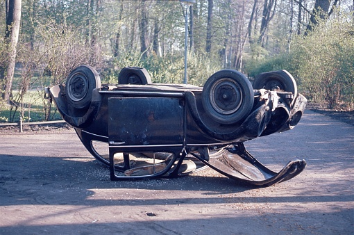Accident Car In The Berlin Tiergarten Stock Photo - Download Image Now