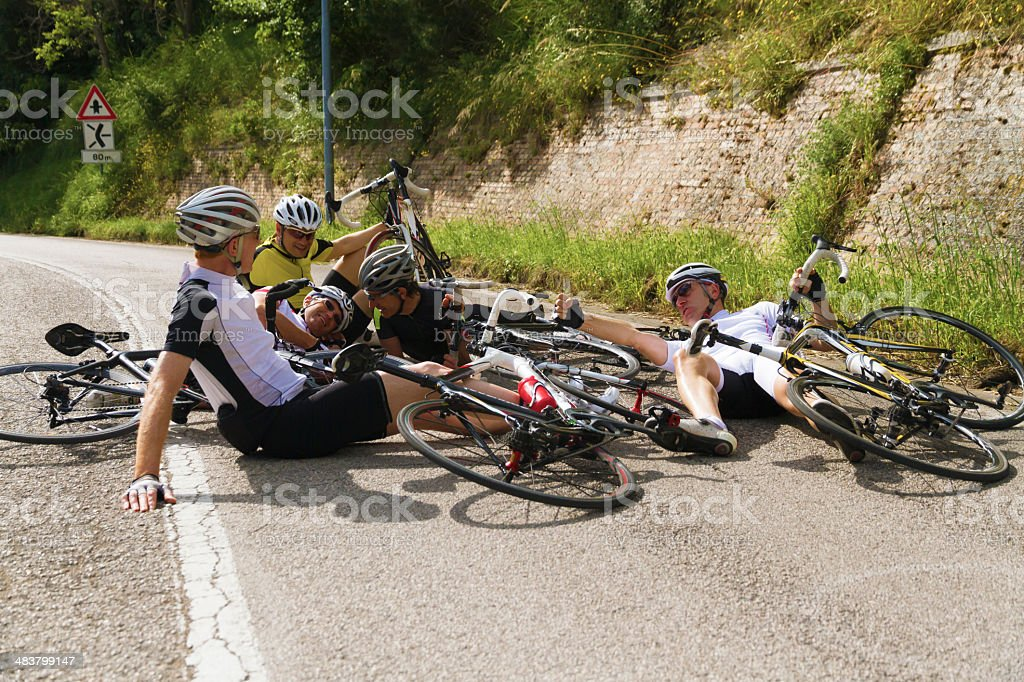 Accident during cycling race stock photo