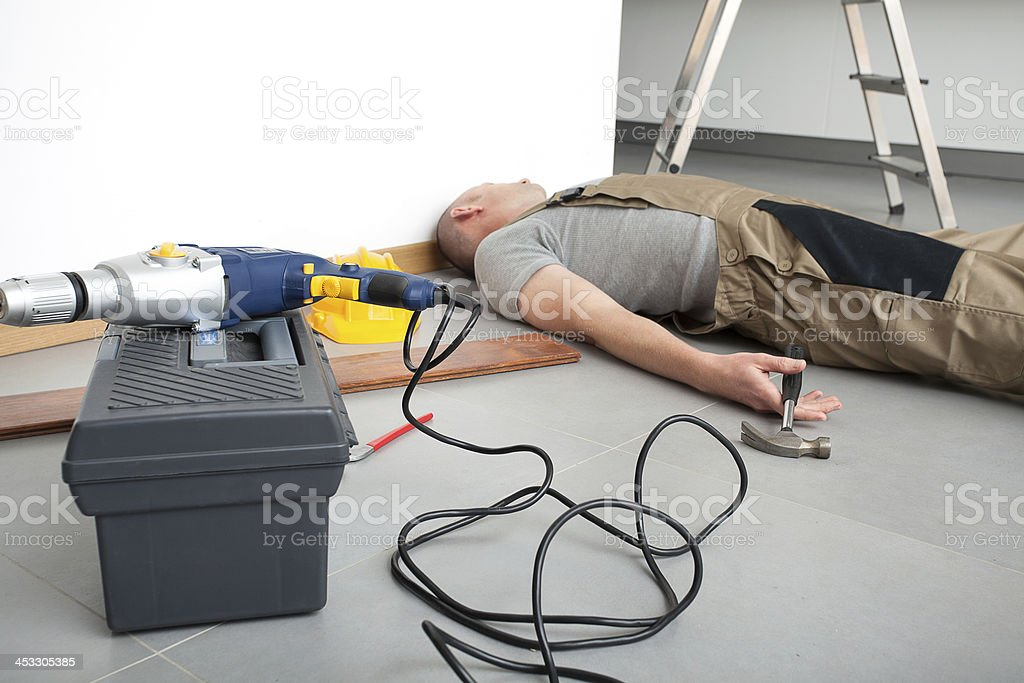Accident during domestic work stock photo