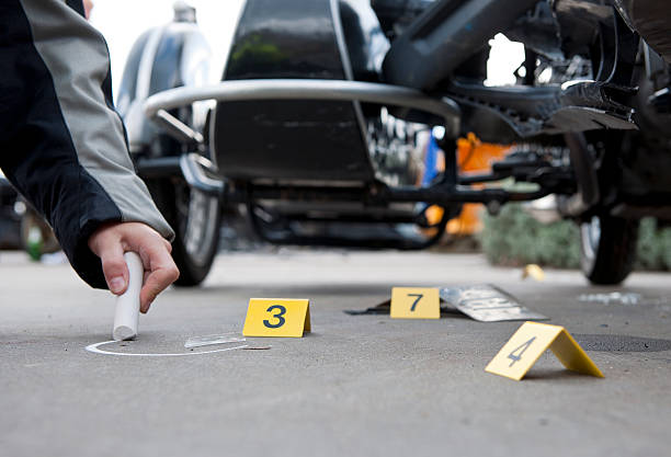 Accident forensics stock photo