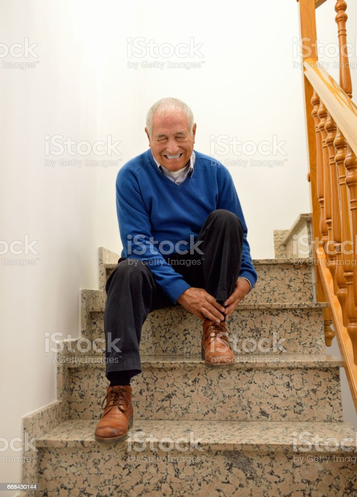 accident home with stairs stock photo