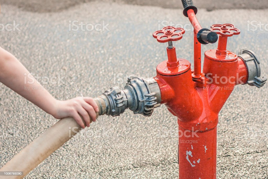 Accident in the city water supply system stock photo