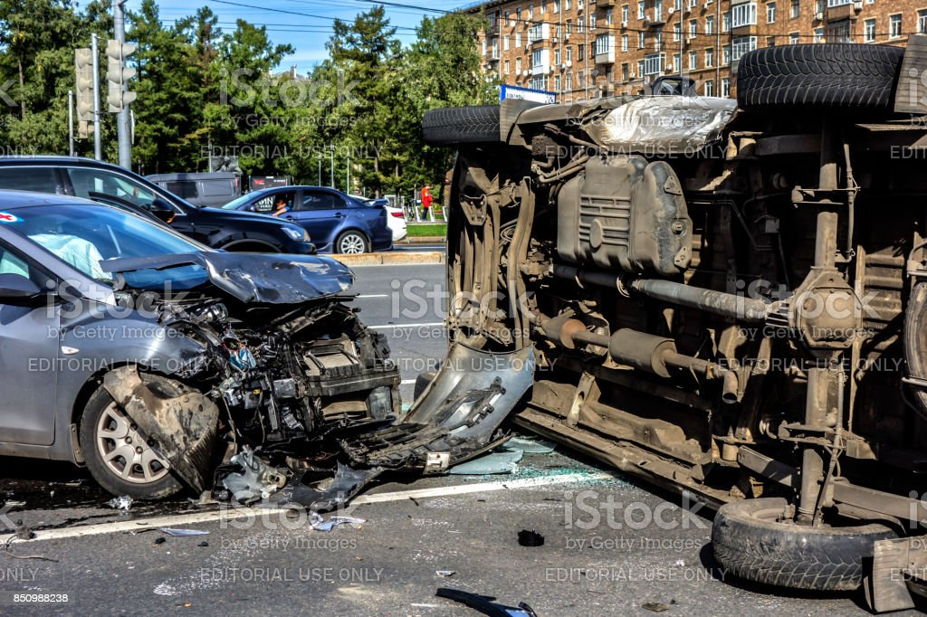 Accident involving an overturned ambulance stock photo