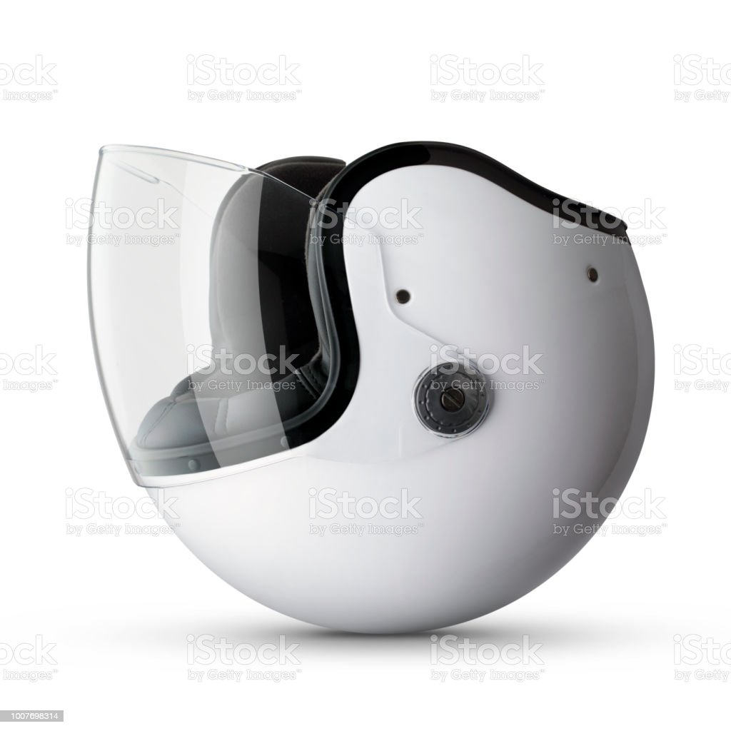Accident Motorcycle Helmet Upside Down On White Background