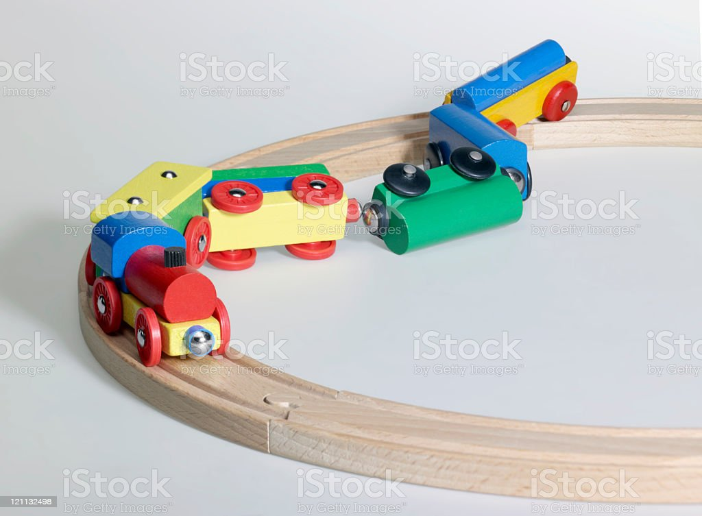accident of a wooden toy train stock photo