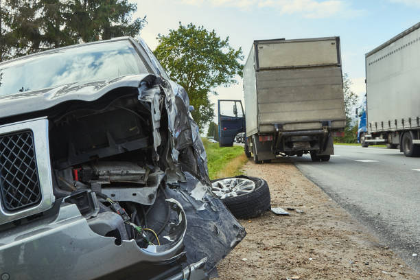 Accident on a road in September, car after a collision with a heavy truck Kekava, Latvia, September 16, 2019: car after a collision with a heavy truck, transportation background misfortune stock pictures, royalty-free photos & images