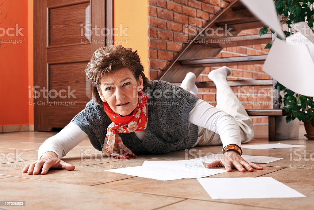 Accident on stairs at home stock photo