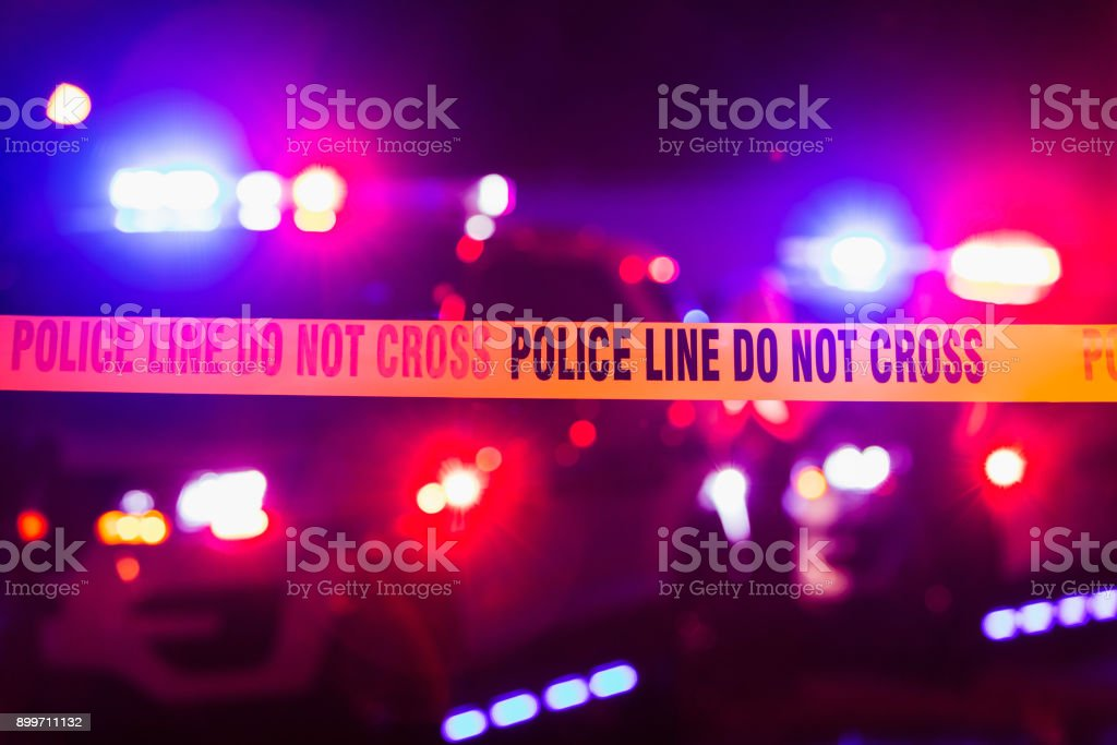 Accident or crime scene cordon tape stock photo