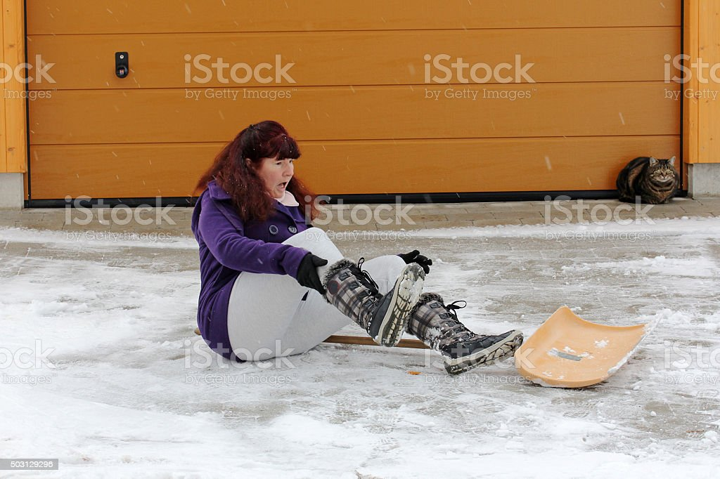 Accident risk when clearing snow stock photo