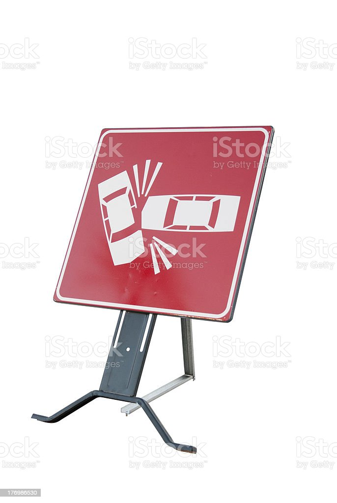 cartello stradale incidente - danger, road sign, traffic accident stock photo
