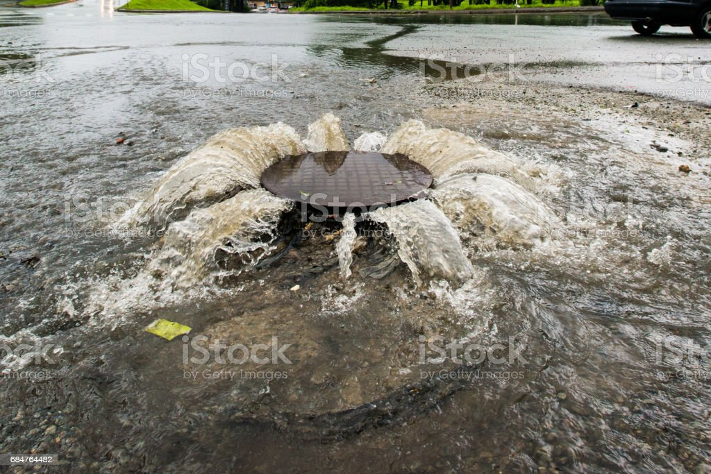 Accident sewerage system. - foto de stock