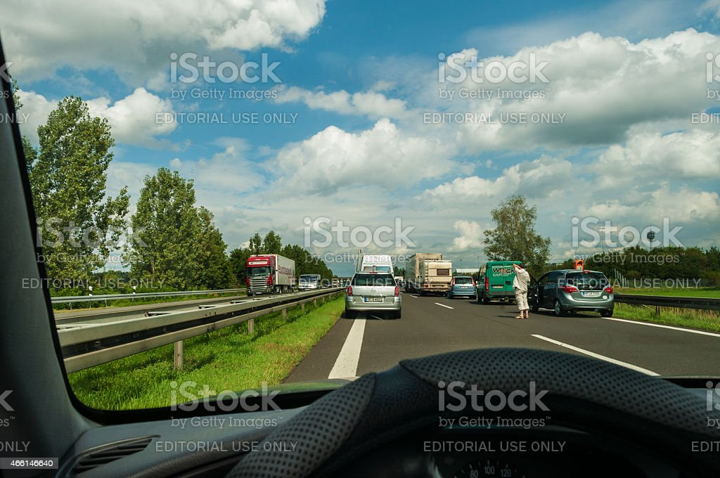 Accident With Road Closed Of The Highway German Autobahn