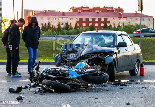 istock Accident with the cyan bike and car 827555064