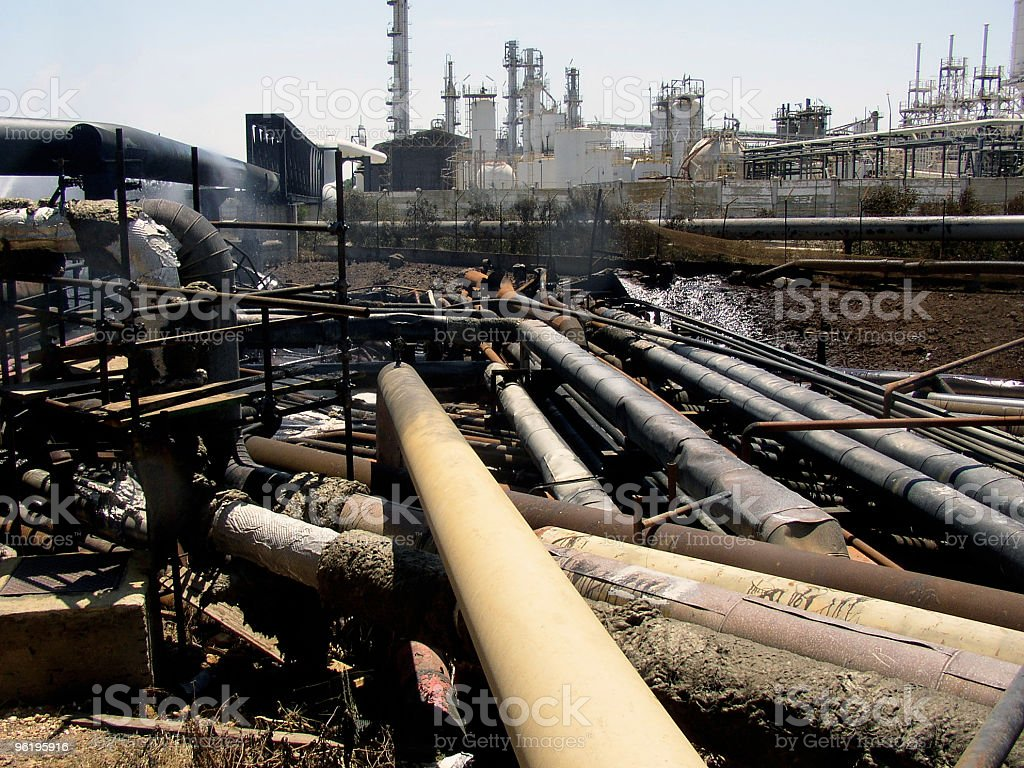 Accidents at Refinery Plant royalty-free stock photo