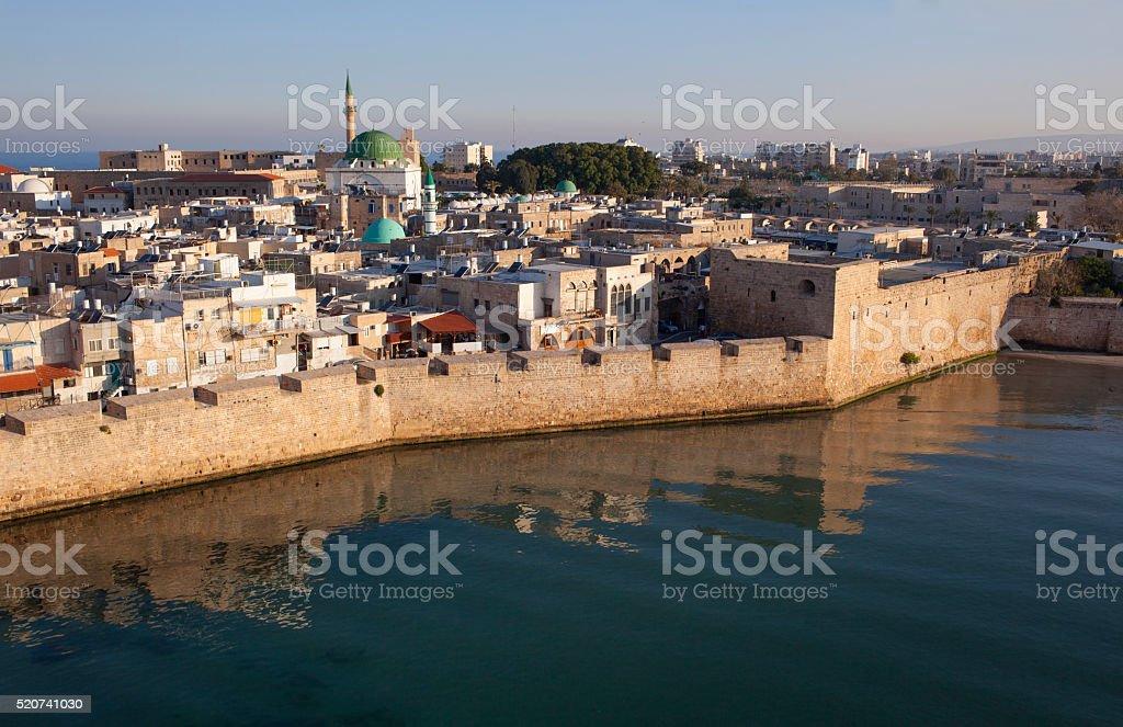 Acco sea wall, Israel. stock photo
