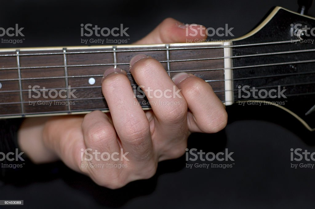 Accord on an electric guitar stock photo