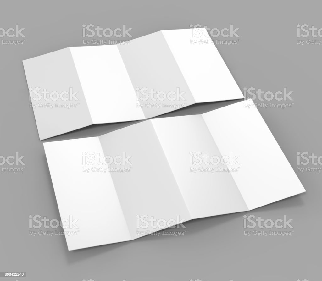 Accordion fold brochure, eight pages four panel leaflet, concertina fold. blank white 3d render illustration. stock photo