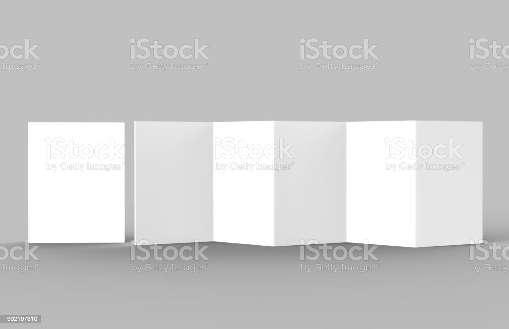 A5 Accordion fold brochure, ten page leaflet, concertina fold. blank white 3d render illustration. stock photo