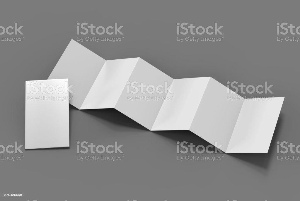 Accordion fold vertical brochure, twelve page leaflet or brochure mockup, concertina fold. blank white 3d render illustration. stock photo