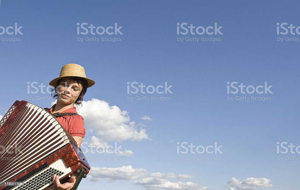 Accordion girl with copy space stock photo