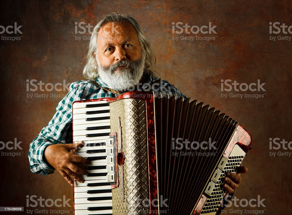 Accordion Man stock photo