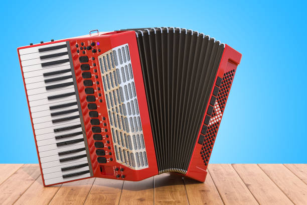 Accordion on the wooden table. 3D rendering stock photo