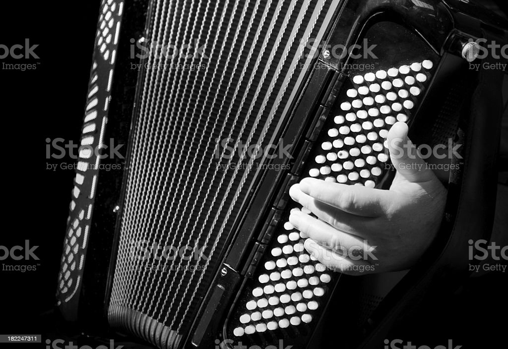 Accordion player and hand close up stock photo