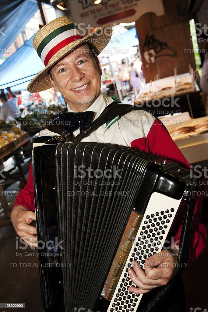 Accordion Player At The Italian Market Stock Photo - Download Image