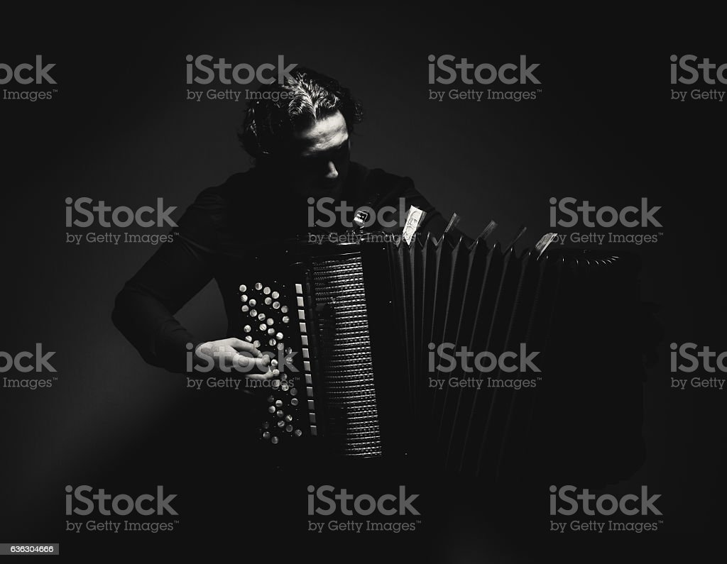 Accordion Player in Black and White stock photo