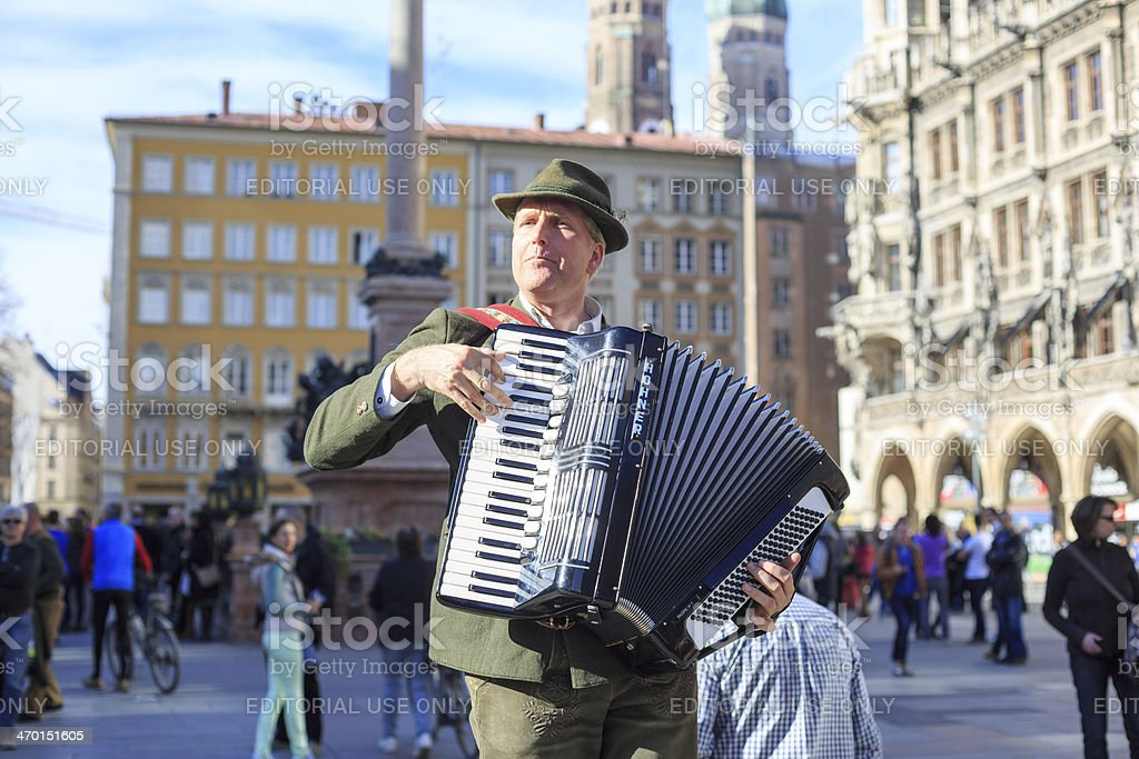 Accordion Player on Munich Marienplatz stock photo