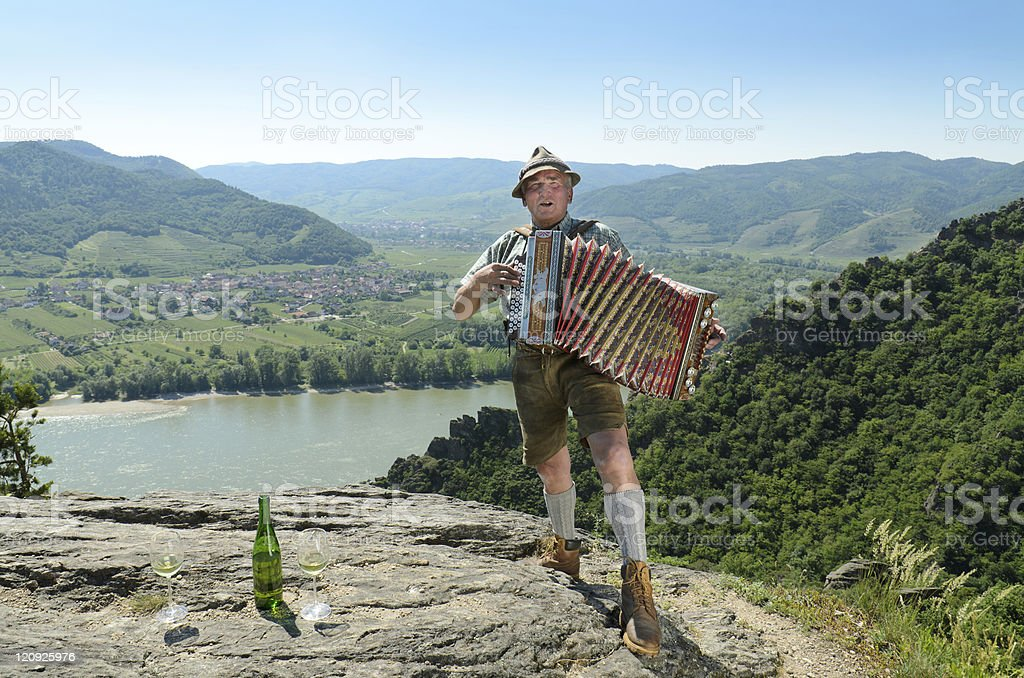 Accordion player on the Danube royalty-free stock photo