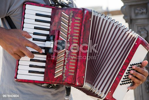 Man playing accordian
