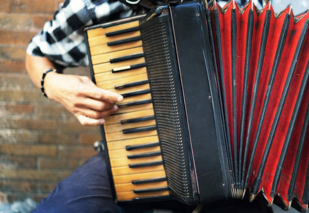 accordion street player - accordion stock photos and pictures