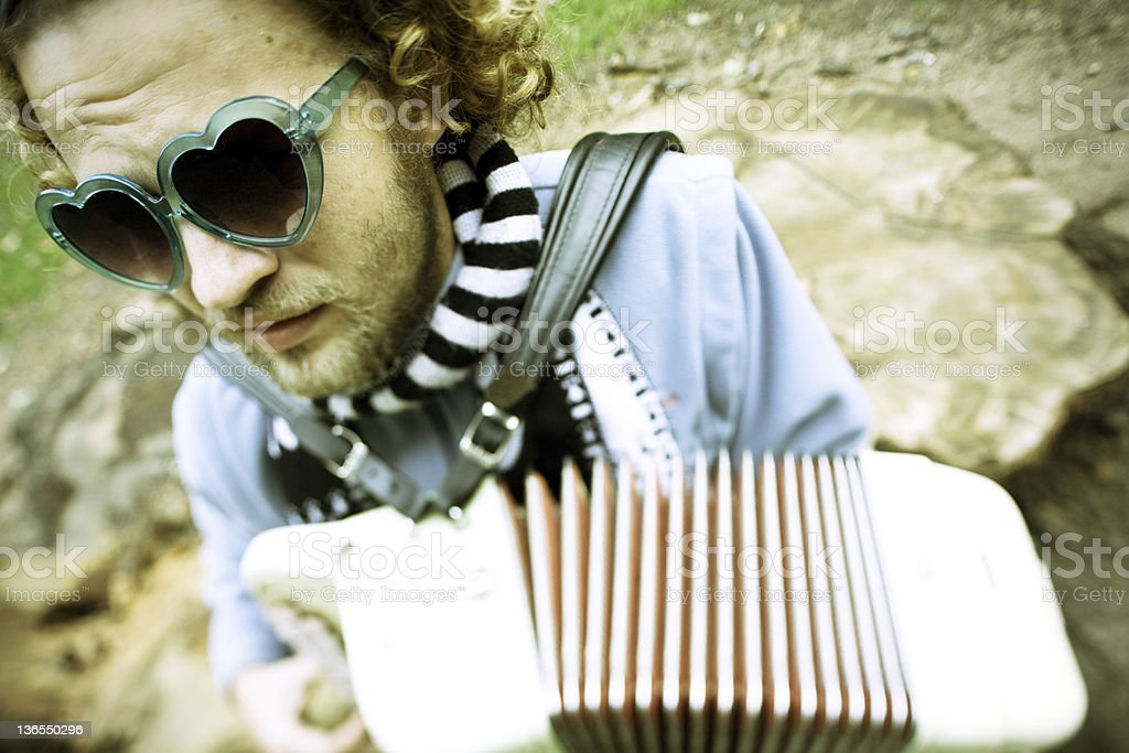 accordionist  and composer stock photo