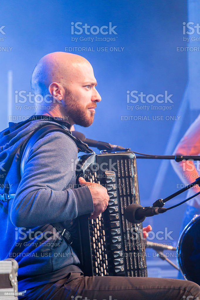 accordionist during a free concert stock photo