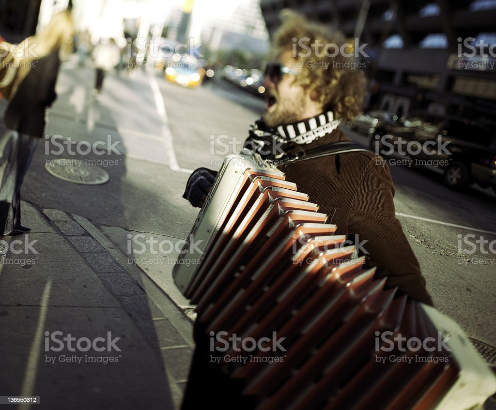 Accordionist ( Street art ) stock photo