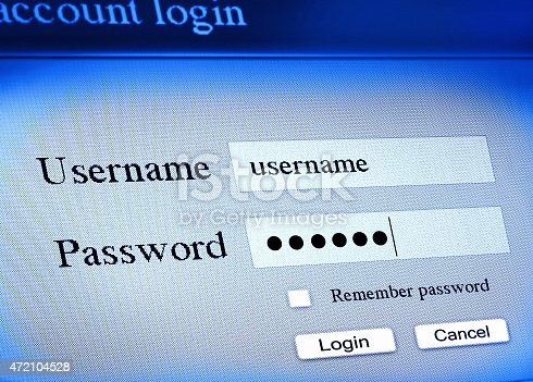 username and password, account login