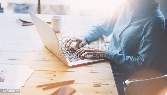 istock Account manager working picture.Photo young businesswoman  work with new 518369756