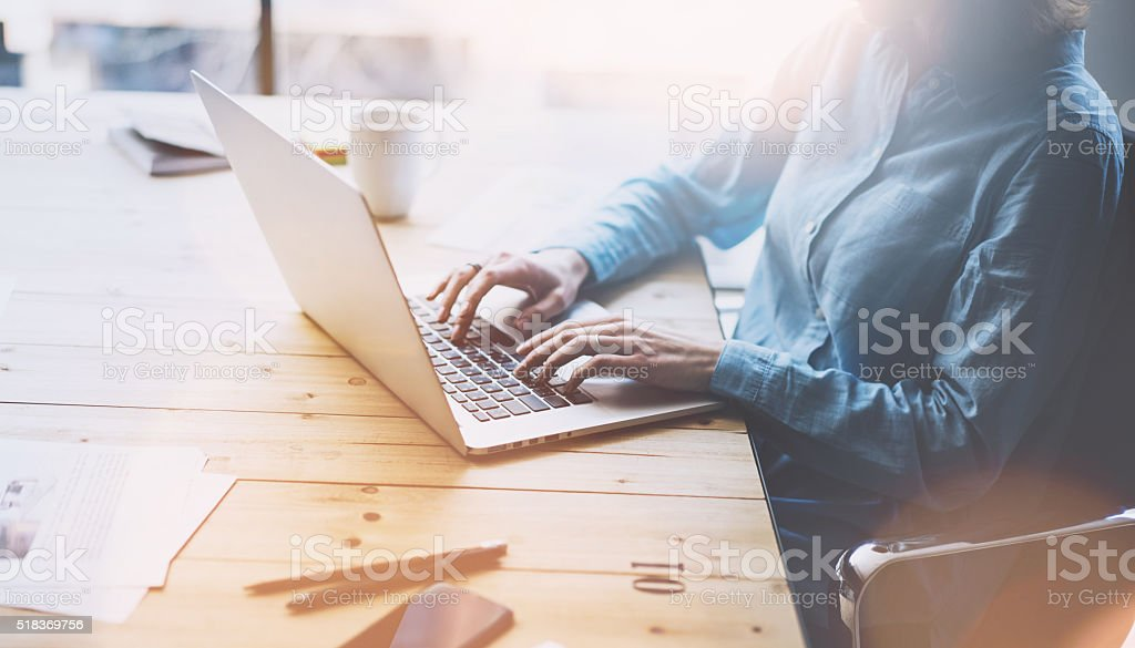 Account manager working picture.Photo young businesswoman  work with new stock photo