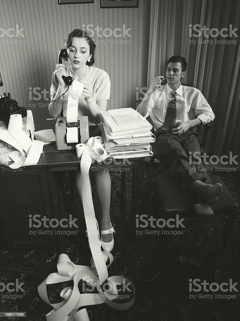 Accountant secretary retro woman vintage office stock photo