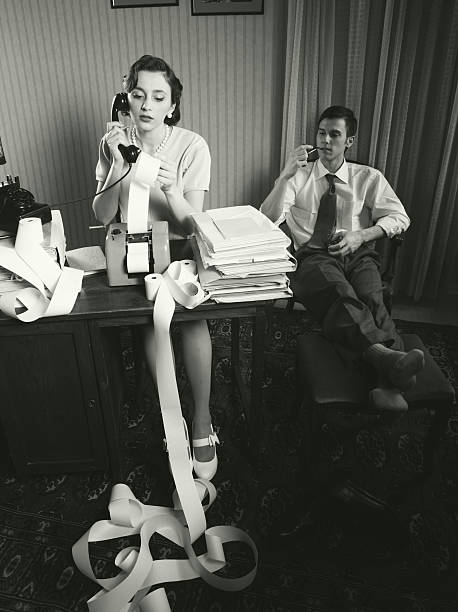 accountant secretary retro woman vintage office - 1950s style stock photos and pictures