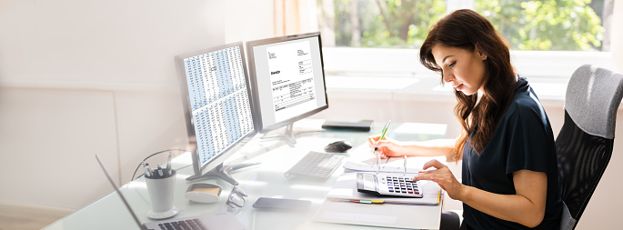 Accountant Using E Invoice Software At Computer In Office