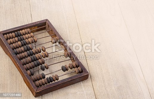 istock Accounting abacus on wooden textured background 1077231450