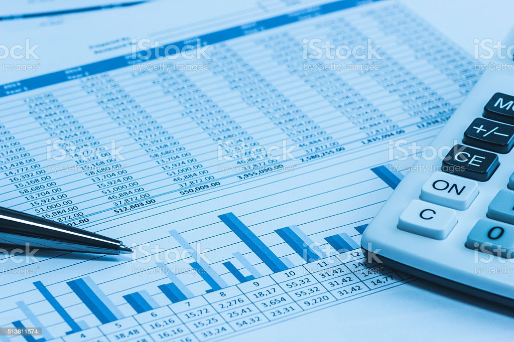Accounting accountant financial papers analysis charts stock photo