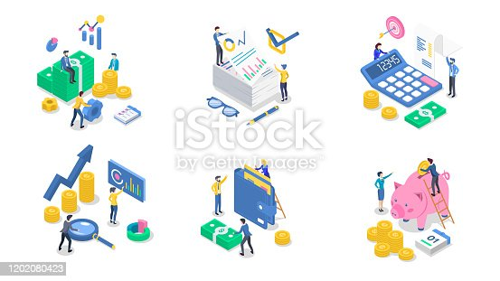 istock Accounting and audit isometric color vector illustration set. Business analytics and planning. Salary payment. Saving money. Banking. Bookkeeping. Investment. 3d concept isolated on white background 1202080423