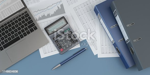 istock Accounting, blue background, 3D illustration 1148634836