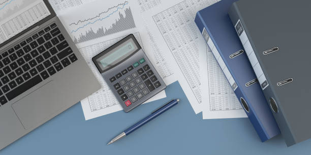 accounting, blue background, 3d illustration - accountancy stock photos and pictures