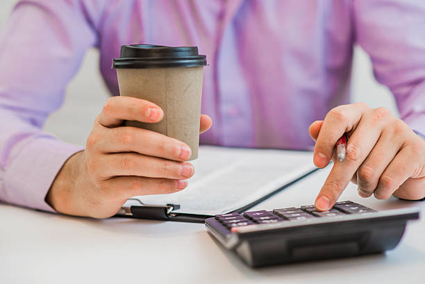 accounting calculating mathematic economic finance working concept - gerente de cuentas fotografías e imágenes de stock