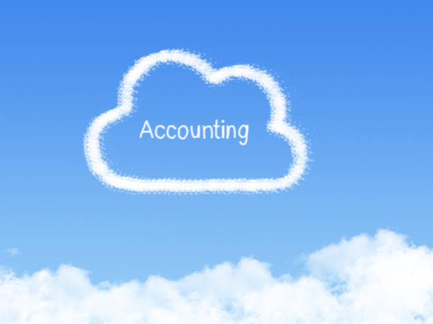 accounting cloud shape on blue sky stock photo